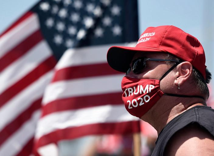 Trump supporters gather at the Selena statue, Saturday, July 11, 2020. About 40 people attended the event plus counter protesters.