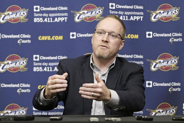 Cleveland Cavaliers interim general manager David Griffin answers questions during a news conference Tuesday, April 22, 2014, in Independence, Ohio. Unsure of his own future, Griffiin discussed Cleveland's disappointing season, which ended for the fourth straight year shy of the NBA playoffs.(AP Photo/Tony Dejak)