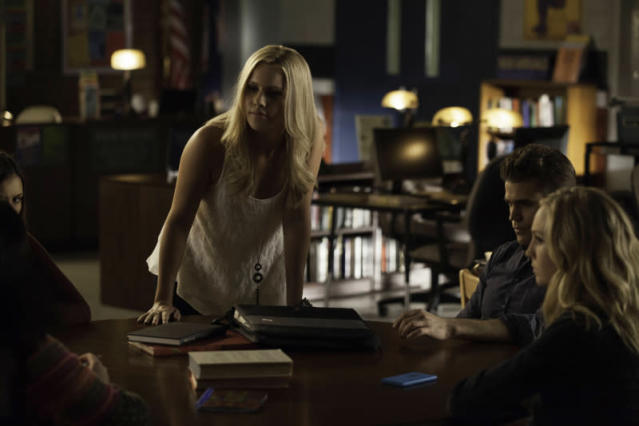 """After School Special"" -- Claire Holt as Rebekah, Paul Wesley as Stefan, and Candice Accola as Caroline"