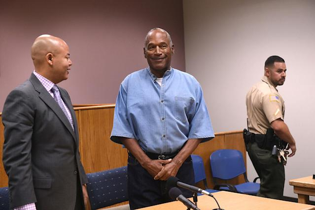 <p>O.J. Simpson arrives for his parole hearing at Lovelock Correctional Centre in Lovelock, Nevada, U.S. July 20, 2017. (Jason Bean/Pool/Reuters) </p>