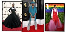 """<p><a href=""""https://www.elle.com/uk/fashion/celebrity-style/a29053514/billy-porter-london-fashion-week/"""" rel=""""nofollow noopener"""" target=""""_blank"""" data-ylk=""""slk:Billy Porter"""" class=""""link rapid-noclick-resp"""">Billy Porter</a> and his <a href=""""https://www.elle.com/uk/fashion/"""" rel=""""nofollow noopener"""" target=""""_blank"""" data-ylk=""""slk:fashion"""" class=""""link rapid-noclick-resp"""">fashion</a> are the gifts that keep on giving. </p><p>Known most recently for his leading role in Ryan Murphy's TV masterpiece <a href=""""https://www.elle.com/uk/life-and-culture/elle-voices/a26745725/pose-tv-show-importance-transgender-community/"""" rel=""""nofollow noopener"""" target=""""_blank"""" data-ylk=""""slk:Pose"""" class=""""link rapid-noclick-resp"""">Pose</a>, Porter is also a Broadway legend, having won a Tony for his role as Lola in Kinky Boots, and also appearing in Dream Girls, Grease, Smokey Joe's Café, Five Guys Named Moe and Miss Saigon.</p><p>Since shooting to celebrity stardom with Pose in 2018, the 50-year-old has also become a style icon in his own right rivalling red carpet looks courtesy of Lady Gaga, whose <a href=""""https://www.elle.com/uk/fashion/celebrity-style/articles/g11248/gaga-s-meat-dress-tops-2010-fashion-statements/"""" rel=""""nofollow noopener"""" target=""""_blank"""" data-ylk=""""slk:meat dress"""" class=""""link rapid-noclick-resp"""">meat dress</a> turns pale in comparison to Porter's<a href=""""https://www.elle.com/uk/fashion/celebrity-style/g27305413/met-gala-2019-dresses/"""" rel=""""nofollow noopener"""" target=""""_blank"""" data-ylk=""""slk:2019 Met Gala"""" class=""""link rapid-noclick-resp""""> 2019 Met Gala</a> entrance. Ahead of the event, which was themed 'Camp: Notes on Fashion', the actor channeled Pharaoh god Ra and was carried onto the red carpet by six shirtless men decorated in gold-coloured paint. </p><p>According to <a href=""""https://www.vanityfair.com/style/2020/01/billy-porter-grammys-2020-red-carpet-hat"""" rel=""""nofollow noopener"""" target=""""_blank"""" data-ylk=""""slk:Vanity Fair,"""" class=""""link rapid-noclick-resp"""">Vanity Fair,</a> the ac"""