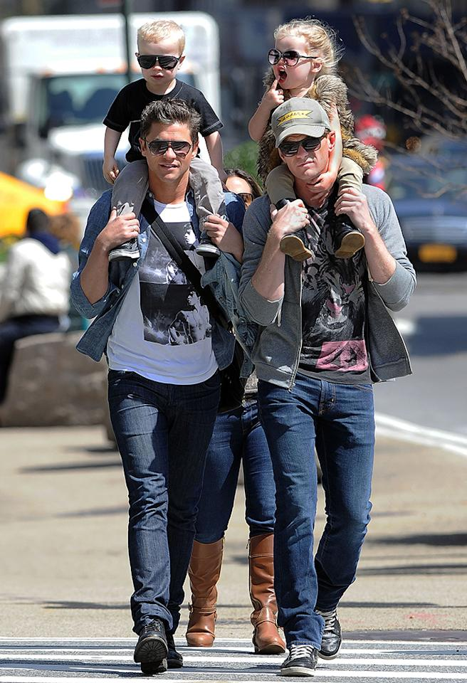 Neil Patrick Harris and family visit Madison Square Park in Manhattan.