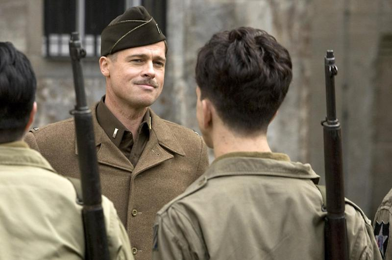 """FILE - In this undated film publicity image released by The Weinstein Co., Brad Pitt is shown in a scene from, """"Inglourious Basterds."""" (AP Photo/The Weinstein Co., Francois Duhamel)"""