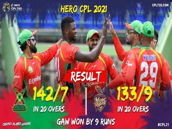 Guyana Amazon Warriors defeated TKR in CPL 2021 first match (Image: CPL)