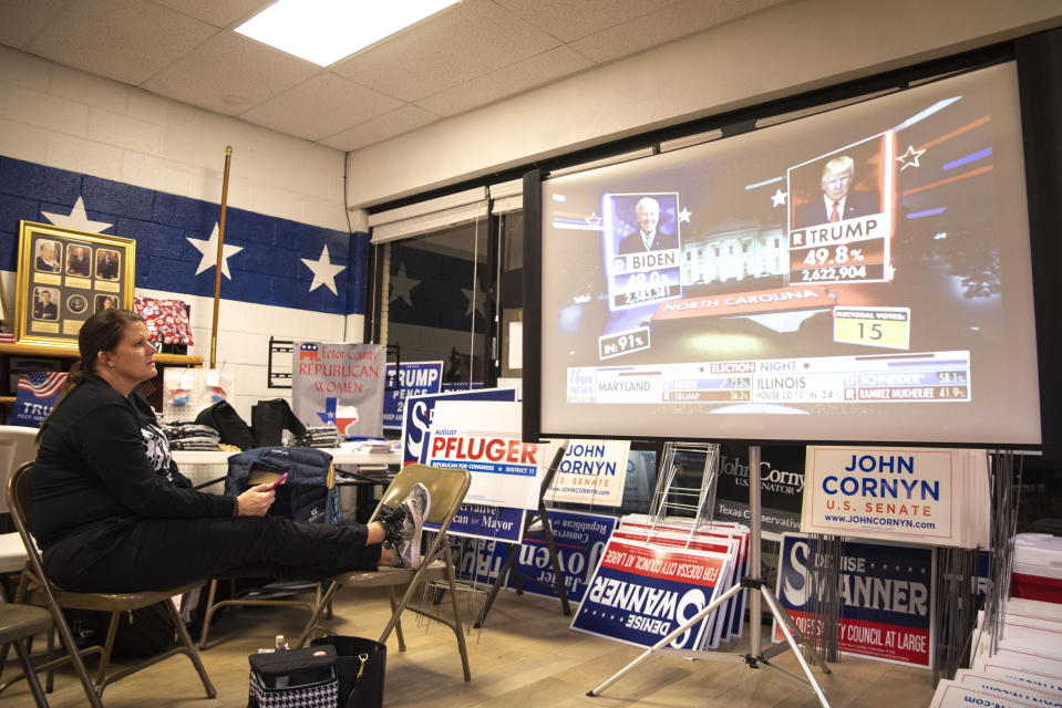 Julie Drainer watches election night coverage at Ector County Republican Headquarters on Tuesday, Nov. 3, 2020, in Odessa, Texas. (Odessa American/Eli Hartman)/Odessa American via AP)