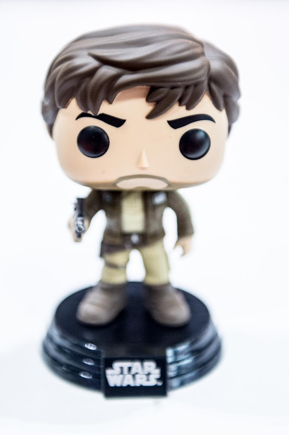 LONDON, ENGLAND - OCTOBER 28:  The Comic con exclusive Captain Cassain Andor from Star Wars Funko Pop only availabe at the show this weekend MCM London Comic Con at ExCel on October 28, 2016 in London, England.  (Photo by Ollie Millington/WireImage)