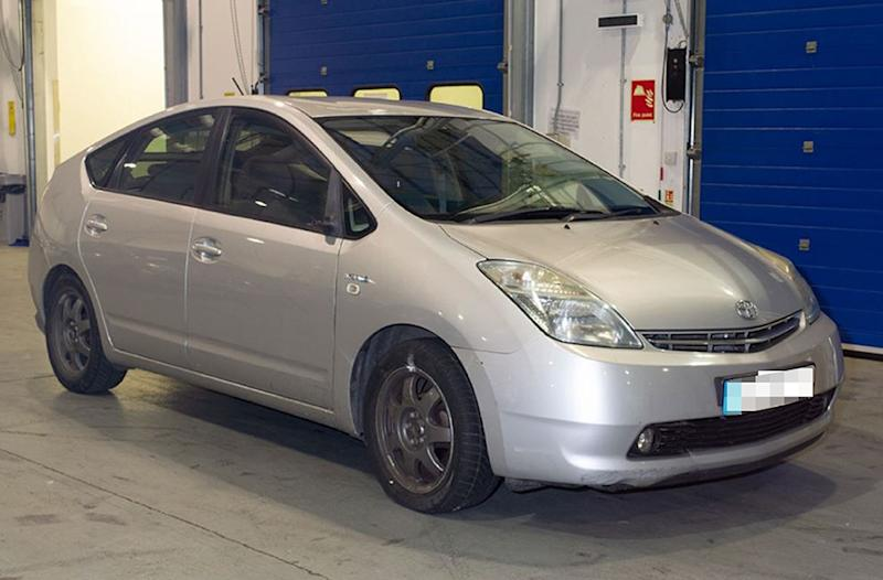Uran Nabiev's Toyota Prius, the wing mirror of which was broken off. (Crown Prosecution Service/PA Wire)