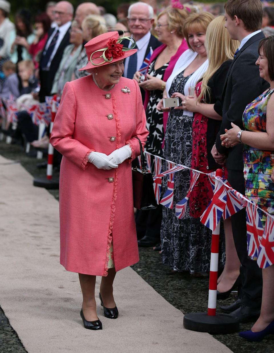 <p>A rosy pink hue was chosen for a day in Scotland.<br><i>[Photo: PA]</i> </p>