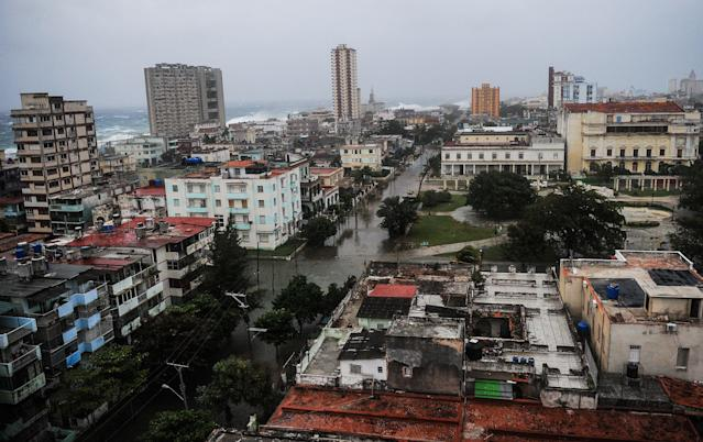 <p>View of flooded streets in Havana during the passage of Hurricane Irma, on Sept. 9, 2017.<br> (Photo: Yamil Lage/AFP/Getty Images) </p>