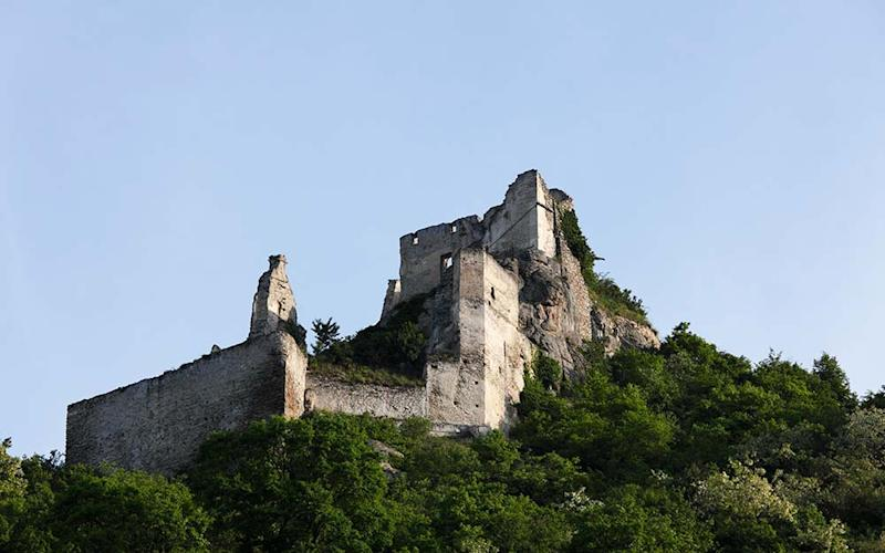 """We pedal past the dramatic ruins of Kuenringer Castle at Durnstein where Richard the Lionheart was incarcerated during the 12th century"" - GETTY"