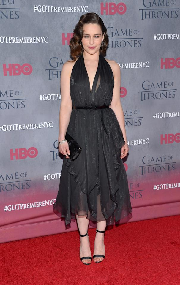 "Emilia Clarke arrives at the New York Premiere of ""Game of Thrones"" Fourth Season on Tuesday, March 18, 2014, in New York. (Photo by Evan Agostini/Invision/AP)"