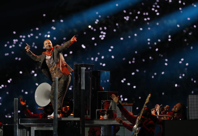 Justin Timberlake performs during halftime at the NFL Super Bowl 52 between the Philadelphia Eagles and the New England Patriots on Sunday in Minneapolis. (AP)