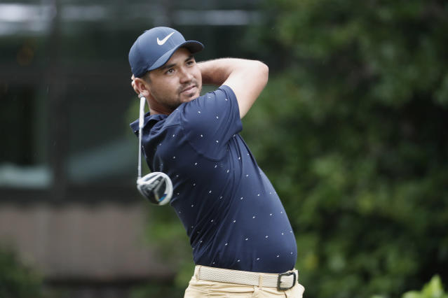 FILE - In this June 18, 2020 file photo, Jason Day of Australia, follows his shot from the 12th tee, during the first round of the RBC Heritage golf tournament in Hilton Head Island, S.C. Day has asked to be tested for COVID-19 just before the third round of the Travelers Championship in Connecticut. Officials have decided to have him play as a single Saturday, June 27 as a precautionary measure. (AP Photo/Gerry Broome, File)