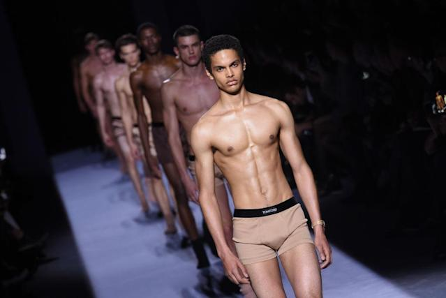 "The finale at Tom Ford's fall-winter 2018 menswear collection featured ""nude"" boxer briefs that matched the skin tone of the models wearing them. (Photo: Getty Images)"
