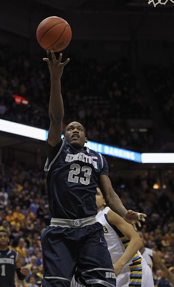 MILWAUKEE, WI - MARCH 03: Aaron Bowen #23 of the Georgetown Hoyas puts up a shot against the Marquette Golden Eagles at the Bradley Center on March 3, 2012 in Milwaukee, Wisconsin. Marquette defeated Georgetown 83-69.  (Photo by Jonathan Daniel/Getty Images)