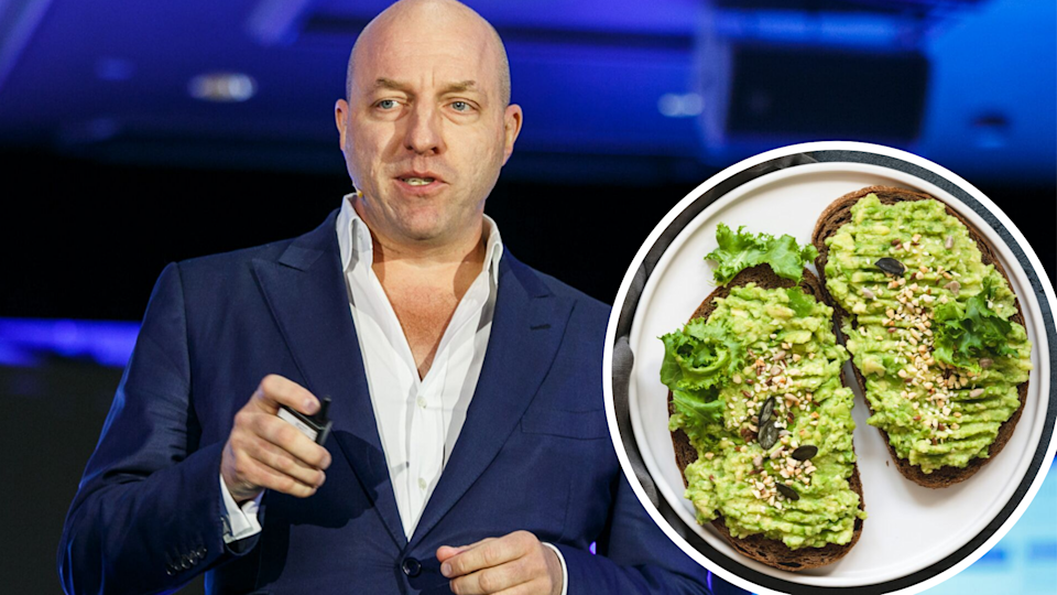 Pictured: Freelancer.com CEO Matt Barrie speaks, smashed avocado on toast. Images: Yahoo Finance, Getty