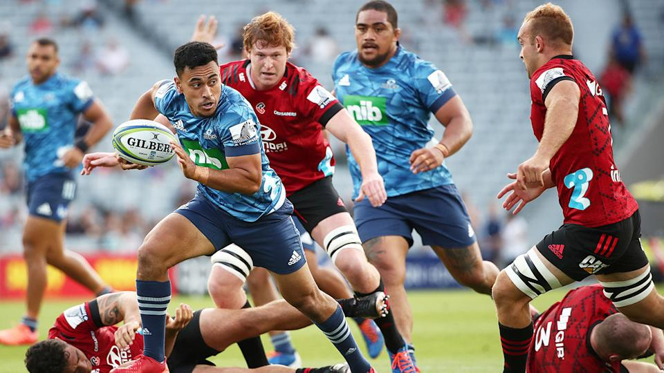 Seen here, the Blues doing battle with the Crusaders in Super Rugby.