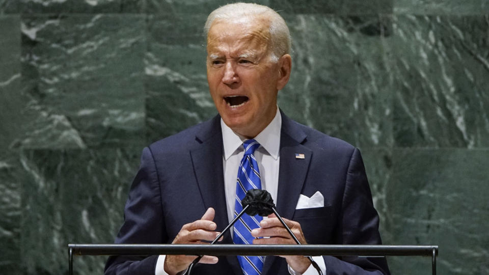 President Joe Biden addresses the 76th Session of the U.N. General Assembly on September 21, 2021 at U.N. headquarters in New York City. More than 100 heads of state or government are attending the session in person, although the size of delegations is smaller due to the Covid-19 pandemic. (Eduardo Munoz-Pool/Getty Images)