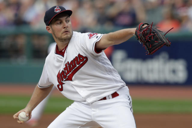 "<a class=""link rapid-noclick-resp"" href=""/mlb/players/9122/"" data-ylk=""slk:Trevor Bauer"">Trevor Bauer</a> issued an apology to ESPN after accusing the network of spreading false information about him that stemmed from a joke tweet over the weekend. (AP Photo)"