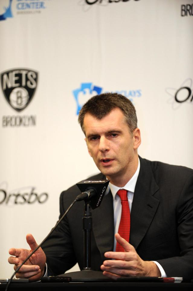 NEW YORK, NY - NOVEMBER 3: Owner Mikhail Prokhorov of the Brooklyn Nets speaks to the media prior to the first ever regular home season game against the Toronto Raptors at the Barclays Center on November 3, 2012 in the Brooklyn borough of New York City. (Photo by Jennifer Pottheiser/NBAE via Getty Images)