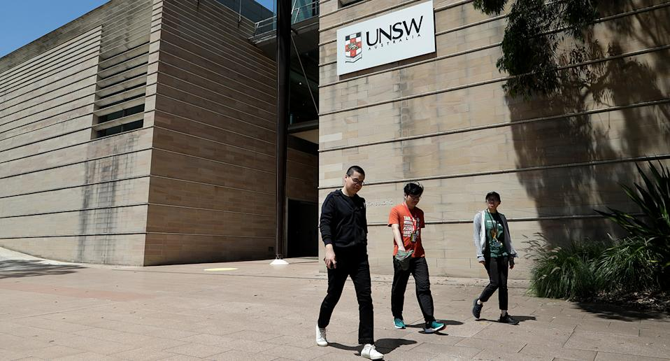 Students walk around the University of New South Wales campus in Sydney, Australia, on December 1, 2020.