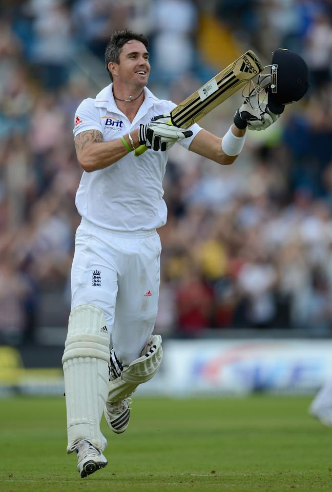 LEEDS, ENGLAND - AUGUST 04:  Kevin Pietersen of England celebrates reaching his century during day three of the 2nd Investec Test match between England and South Africa at Headingley on August 4, 2012 in Leeds, England.  (Photo by Gareth Copley/Getty Images)
