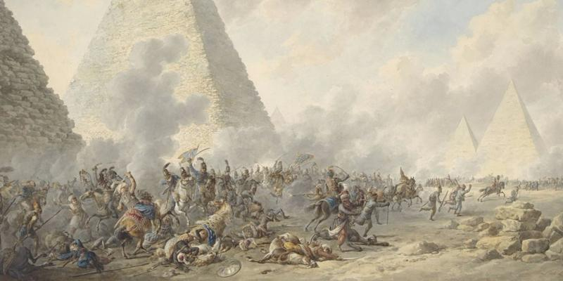 Battle of the Pyramids, Dirk Langendijk, 1803, Dutch watercolor painting. In 1798, Napoleon's French army defeated the Egyptian Mamluks