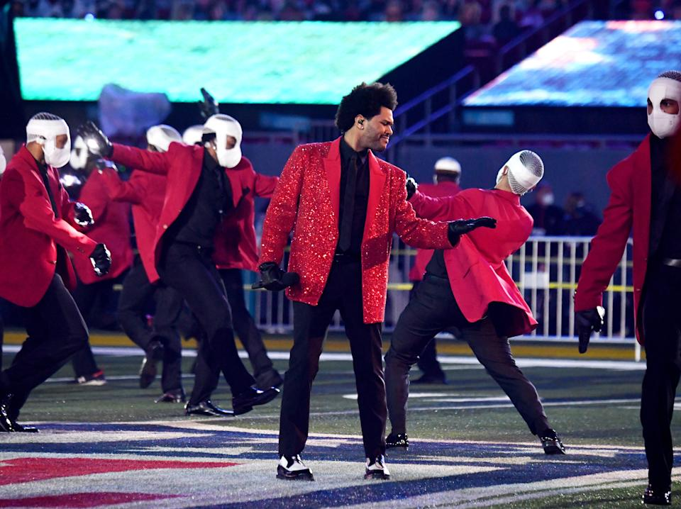 In this image released on February 7th, The Weeknd rehearses for the Super Bowl LV Halftime Show at Raymond James Stadium on February 04, 2021 in Tampa, Florida.