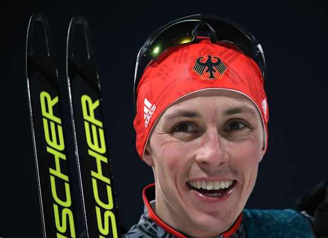 Nordic Combined Events - Pyeongchang 2018 Winter Olympics - Men's Individual 10km Final - Alpensia Cross-Country Skiing Centre - Pyeongchang, South Korea - February 14, 2018. Eric Frenzel of Germany celebrates his win. REUTERS/Carlos Barria