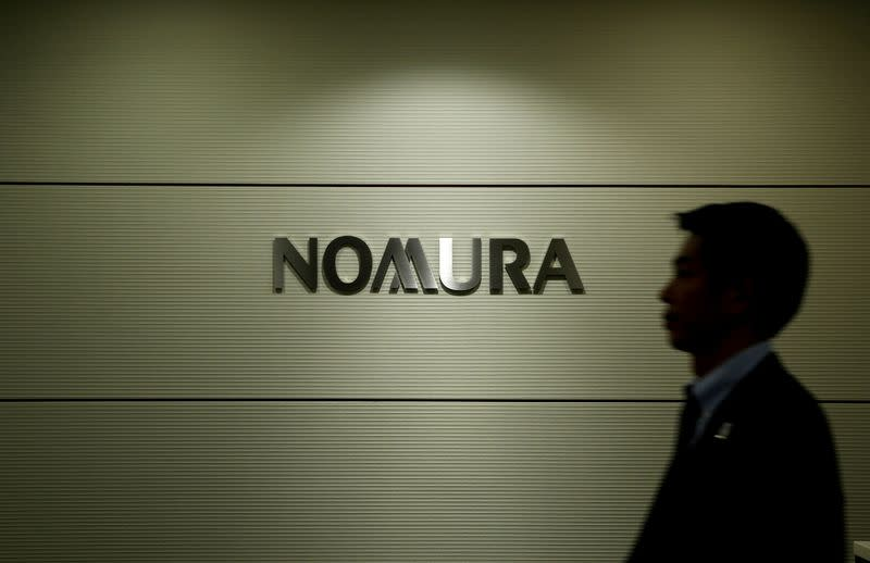 FILE PHOTO: Logo of Nomura Securities is pictured at the company's Otemachi head office in Tokyo