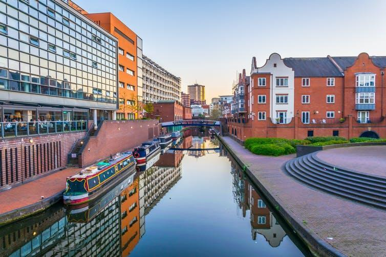 Canal in central Birmingham, England.
