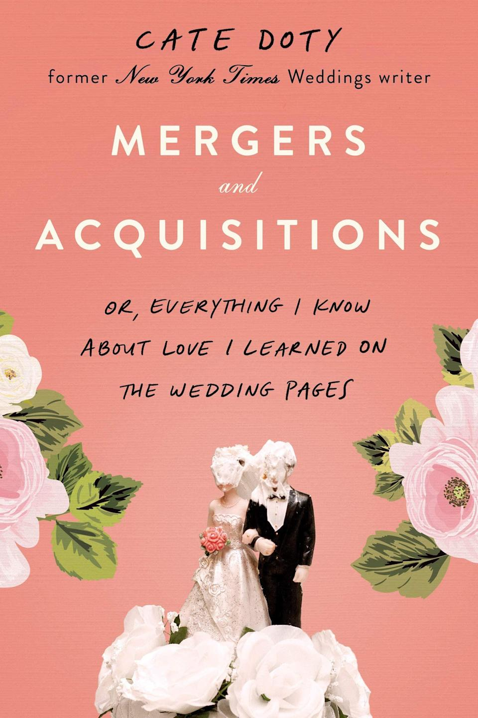 """<p>Cate Doty's dishy memoir <span><strong>Mergers and Acquisitions</strong></span> is a deep dive into New York City's high society, as well as the <a class=""""link rapid-noclick-resp"""" href=""""https://www.popsugar.co.uk/Wedding"""" rel=""""nofollow noopener"""" target=""""_blank"""" data-ylk=""""slk:wedding"""">wedding</a> industry at large. As a former writer for <strong>The New York Times</strong>'s <a class=""""link rapid-noclick-resp"""" href=""""https://www.popsugar.co.uk/Wedding"""" rel=""""nofollow noopener"""" target=""""_blank"""" data-ylk=""""slk:wedding"""">wedding</a> section, Doty has seen it all - from the lengths couples will go to in order to land an engagement announcement in the paper to what it's like to fact-check someone's love story - and yet, she's not cynical about romance, as evidenced by her own story of finding love, which is interwoven in between all of those juicy anecdotes. </p> <p><em>Out May 4</em></p>"""