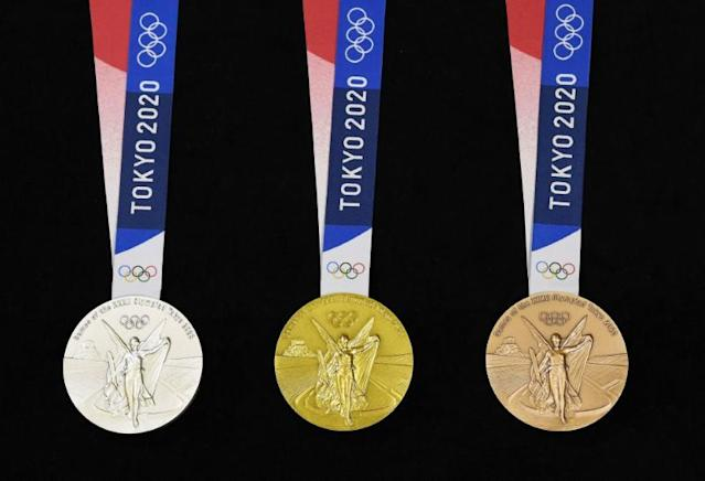 Front side of Tokyo 2020 Olympic medals are seen displayed for the media for a photo opportunity in Tokyo