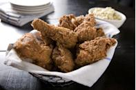 <p>Two words: soggy mess. The crispy, crunchy fried bits will collect moisture when frozen and thawing this mess will only make the mushy matters worse.</p>