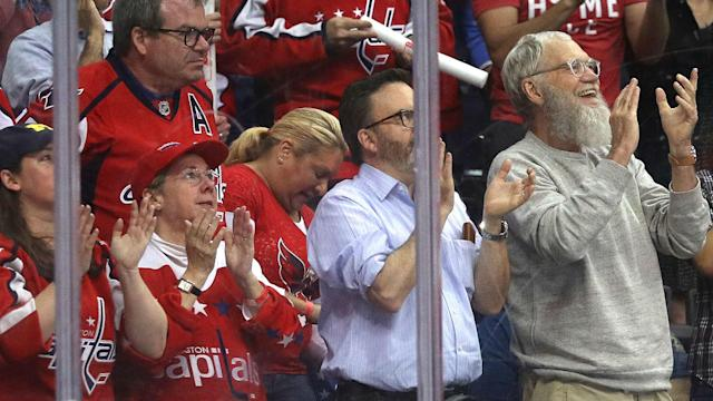 Gloriously bearded David Letterman sat rinkside at Verizon Center for Game 1 of the Penguins-Capitals series on Thursday night.
