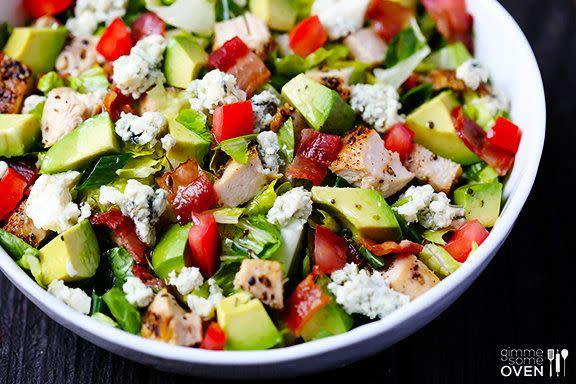 "<strong>Get the <a href=""http://www.gimmesomeoven.com/chicken-bacon-avocado-chopped-salad/"" rel=""nofollow noopener"" target=""_blank"" data-ylk=""slk:Chicken, Bacon and Avocado Chopped Salad recipe"" class=""link rapid-noclick-resp"">Chicken, Bacon and Avocado Chopped Salad recipe</a> from Gimme Some Oven</strong>"