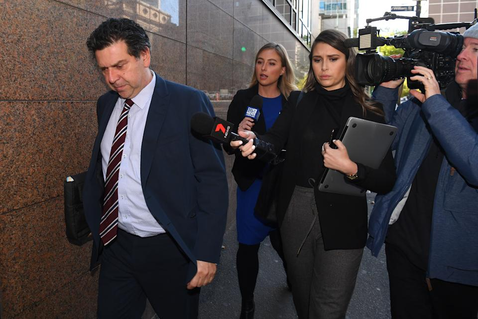 Mohinder Singh's lawyer Steven Pica (left) departs the Melbourne Magistrates Court in Melbourne in April. Source: AAP