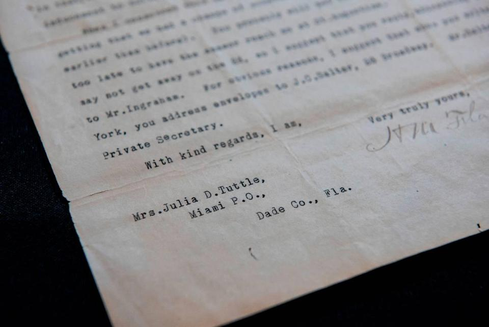 A letter from the 1890s from Henry Flagler to Julia Tuttle, as part of their correspondence for Flagler to extend his railway to Miami, is in HistoryMiami Museum's archival collection.