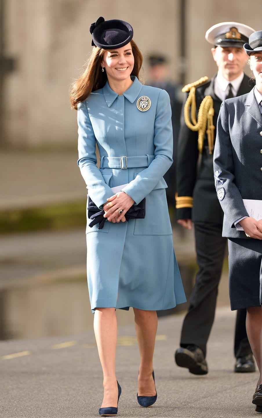 <p>Joining Britain's Air Cadets to help them celebrate their 75th anniversary, the Duchess stepped out in a pale blue Alexander McQueen coatdress.</p>