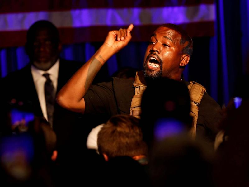 Kanye West in South Carolina at his first campaign rally: REUTERS