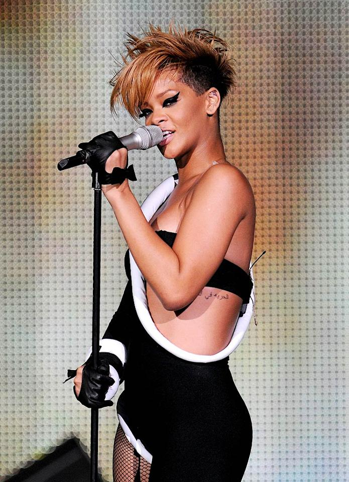"Since her split from Chris Brown, Rihanna has been linked to a bunch of boys. We're just hoping that her next long-term love is a true gentleman. Kevin Mazur/<a href=""http://www.wireimage.com"" target=""new"">WireImage.com</a> - February 4, 2010"