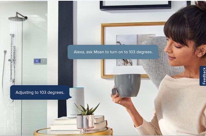 The Moen smart shower can now connect to your digital assistant. Image: Moen
