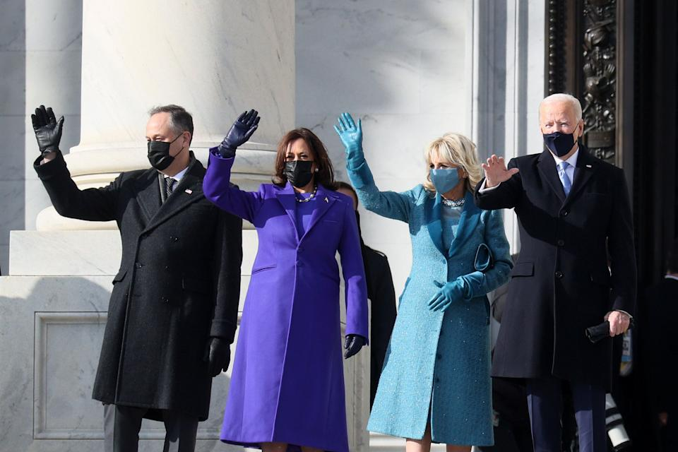 From left: Emhoff, Harris, Jill Biden and President Joe Biden wave as they arrive at the U.S. Capitol ahead of the inauguration. (Photo: Joe Raedle via Getty Images)