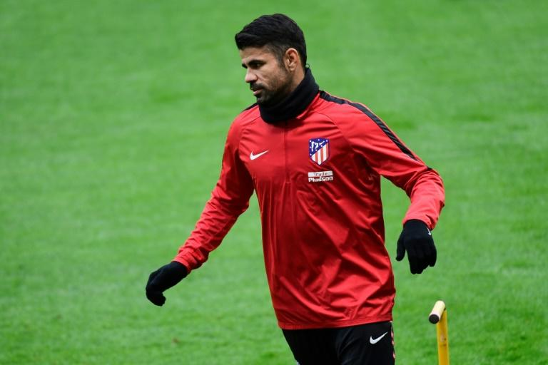 Atletico Madrid's forward Diego Costa takes part in a training session at the Wanda Metropolitan Stadium in Madrid on December 31, 2017