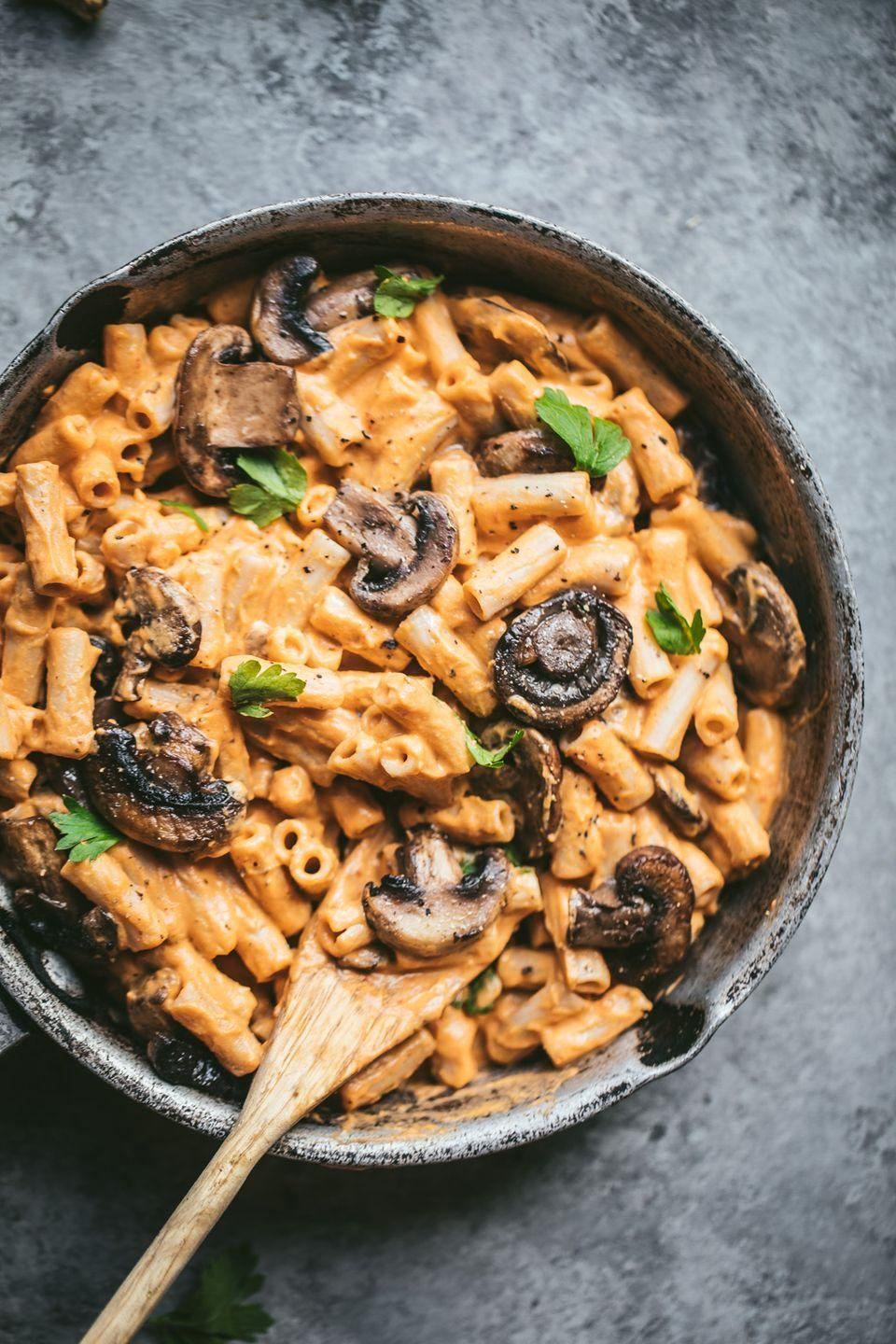 """<p>The creamy sauce is actually vegan and made out of sweet potatoes, cashews, and chipotle peppers.</p><p><strong>Get the recipe at <a href=""""https://www.ambitiouskitchen.com/creamy-chipotle-sweet-potato-penne-pasta/"""" rel=""""nofollow noopener"""" target=""""_blank"""" data-ylk=""""slk:Ambitious Kitchen"""" class=""""link rapid-noclick-resp"""">Ambitious Kitchen</a>.</strong></p><p><strong><a class=""""link rapid-noclick-resp"""" href=""""https://www.amazon.com/Stainless-Steel-Skillet-Glass-Cover/dp/B01D0MDZRO/ref=sr_1_5?tag=syn-yahoo-20&ascsubtag=%5Bartid%7C10050.g.1487%5Bsrc%7Cyahoo-us"""" rel=""""nofollow noopener"""" target=""""_blank"""" data-ylk=""""slk:SHOP SKILLETS"""">SHOP SKILLETS</a><br></strong></p>"""