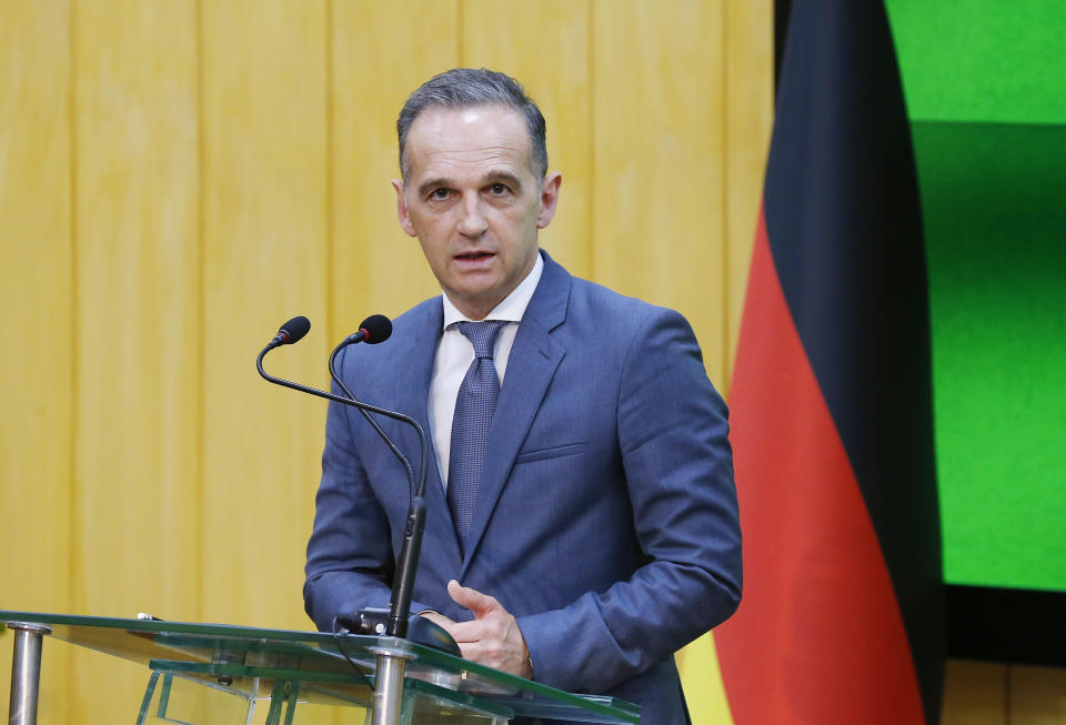 German Foreign Minister Heiko Maas speaks during a press conference with his Pakistani counterpart after their meeting in Islamabad, Pakistan, Tuesday, August 31, 2021. Maas arrived in Islamabad on two-day visit to hold talks with Pakistani leadership to discuss bilateral matters, international issues and the current situation in Afghanistan. (AP Photo/Anjum Naveed)