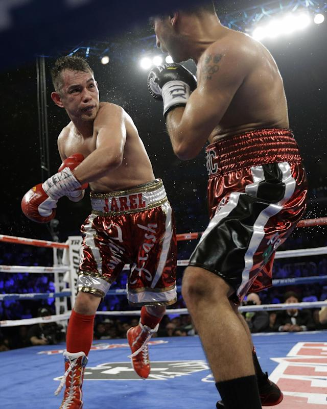 Nonito Donaire, left, knocks Vic Darchinyan back during round 9 of their featherweight rematch, Saturday, Nov. 9, 2013, in Corpus Christi, Texas. (AP Photo/Eric Gay)