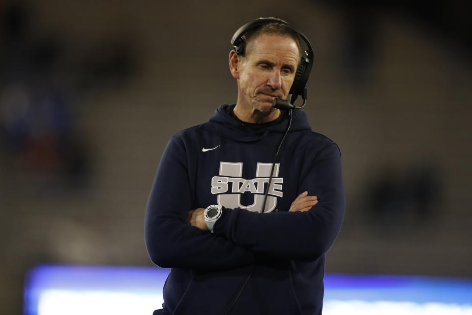 Utah State head coach Gary Andersen in the first half of an NCAA college football game Saturday, Oct. 26, 2019, at Air Force Academy, Colo. (AP Photo/David Zalubowski)