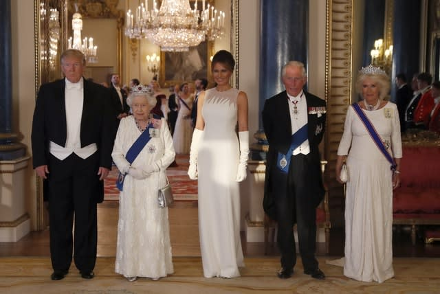 Pictured ahead of the banquet: US President Donald Trump, the Queen, First Lady Melania Trump, the Prince of Wales and the Duchess of Cornwal
