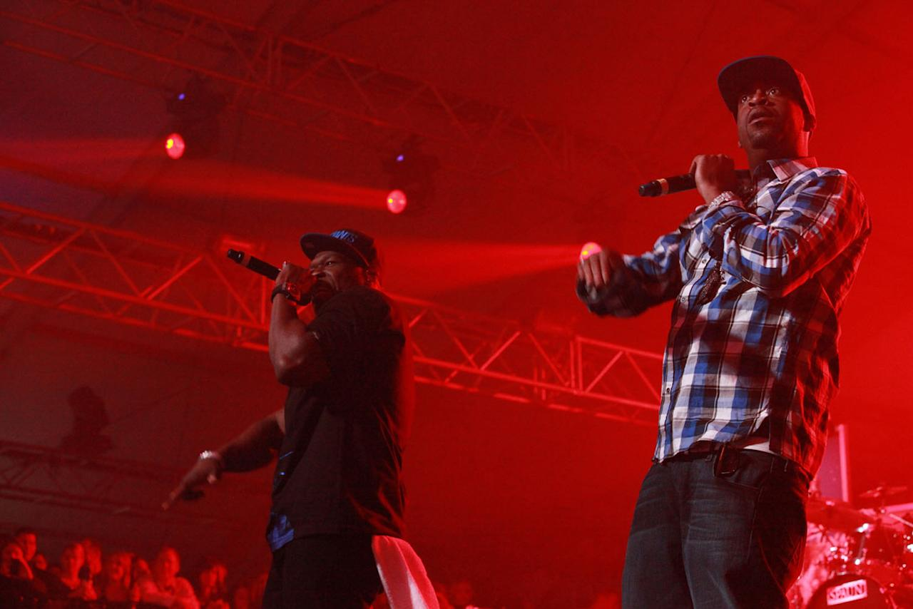 Rapper Tony Yayo performs with 50 Cent at the Bud Light Hotel concert.